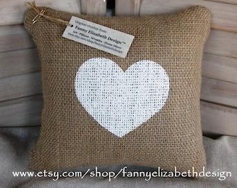 Valentine's Day Gift-Sm. Burlap Pillow-Heart Pillow- Decorative Pillow- Burlap Pillow-Baby Shower Gift- Burlap Pillows- Pillow-Baby Gift
