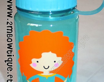 Merida Inspired Princess Personalized Water Bottle. Great gift idea.