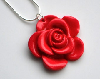 Rose Flower Necklace, Polymer Clay, Fimo, Red