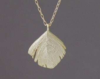Gold Peacock Feather Necklace also in silver