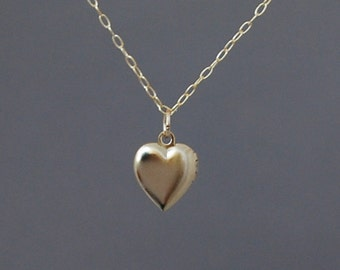 Tiny Gold Heart Locket Necklace