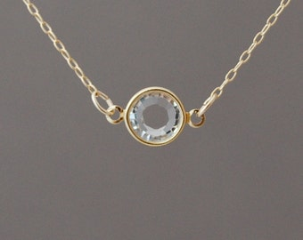 Clear Swarovski Crystal Gold Fill Necklace