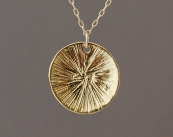 Gold Sun Disc Necklace
