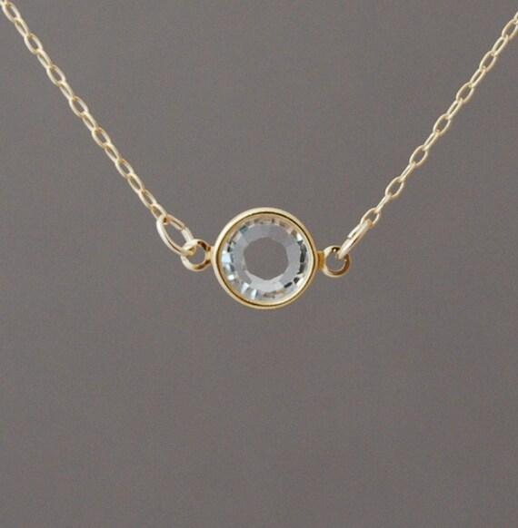 Clear Swarovski Crystal Gold Fill Necklace
