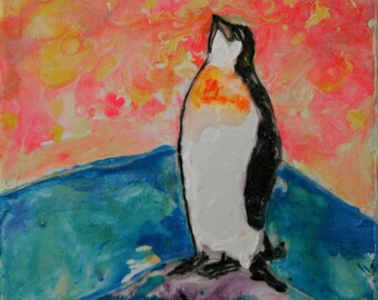 8x8 Acrylic Penguin Painting on Canvas