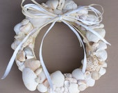 Seashell wreath, 8.5 inches white sea shell wreath, wedding wreath, pink, blush, coastal, cottage chic, beach, nautical