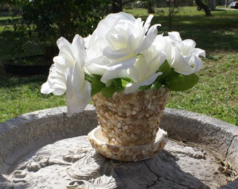 Seashell planter - Wedding decoration - sea shell favors - table settings - Flower Pot -  - centerpiece - garden,  planter,