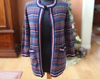Women's Vintage Striped Multi-Colored Franco Moretti Cardigan