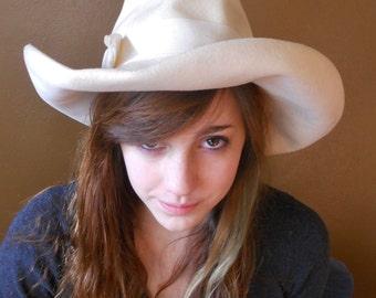 Vintage Wool Hat Cowboy Hat Ivory Brimmed Hat Wool Western 1960's Vicki Jo Original