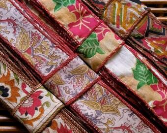 Silk Sari Ribbon, Silk Trim, 4 colors,  E8