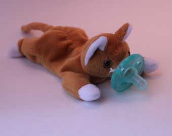 "Cat ""Nip"" pacifier holder pacimal - you choose the pacifier"