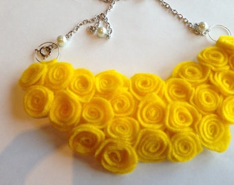 Yellow Felt Rosette Necklace, Bib Necklace, Statement Necklace, Stocking Stuffer