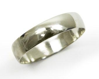 Gold wedding ring.men wedding band.14k white gold wedding ring. round 5mm wedding ring.  matte wedding ring. men wedding ring (gr-9377-663),