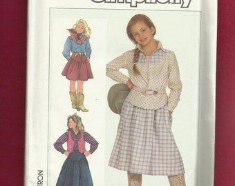 Vintage 1986 Simplicity 7622 Western Shirt Vest and Skirt Yee Haw Size 12 UNCUT