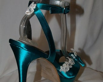 Ready to Ship Size 8 Peacock Jade Shoes, elegant satin high heels, lace and bead work, Open toe, ankle strap, platforms, bridesmaids, prom