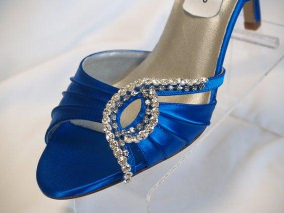 Royal Blue Wedding Heels: Blue Wedding Shoes Royal-Blue Crystals 2.5 Heels By NewBrideCo