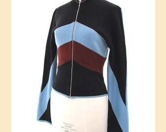 Vintage 1990s cardigan jacket by Karen Millen in wool with grey, blue and brown colour blocks, zip front, UK size 12 to 14