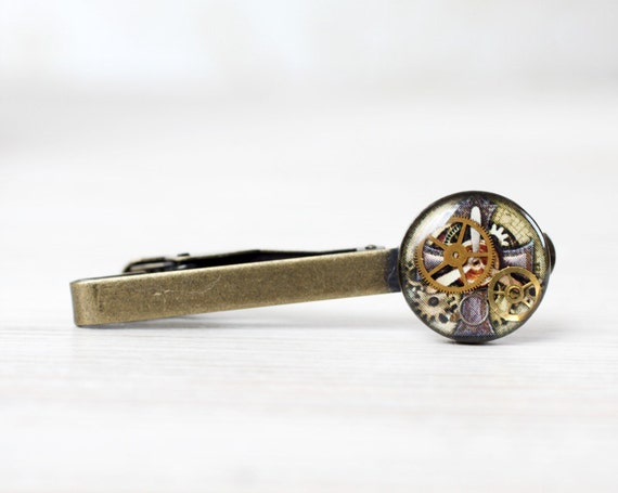 Steampunk Tie Clip for him - Antique Watch Movements - Steampunk Jewelry