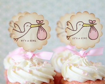 It's a Girl, It's a Boy, Stork, Cupcake toppers, Baby Shower, Pink, 12 toppers