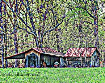"Original Edited Art Photo / Little Tractor Barn / Virginia Landscape / Primitive / Log Barn / Country Decor/ 8"" x 10"""