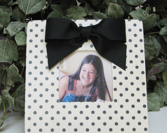 Cream with Black Polka Dots Decoupaged Picture Frame