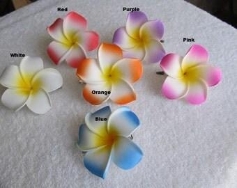 """Medium 2.25"""" Waterproof Foam Hawaiian Plumeria Frangipani Flower Hair Clip"""