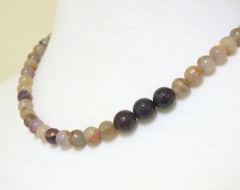 """Lilac Jasper Faceted Beaded one strand 18 1/2"""" Necklace with a three bead  off-set  of dark garnet"""