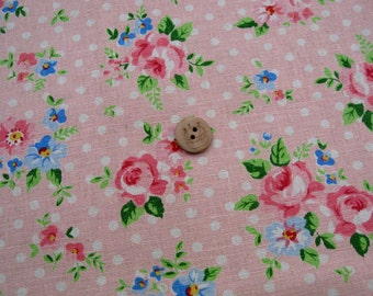LF124 - Linen Cotton Blended Fabric - Rose and dot -light pink  - 1/2  yard