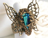 EMERGENCE Victorian fantasy butterfly ring with Swarovski crystal, free velvet gift pouch