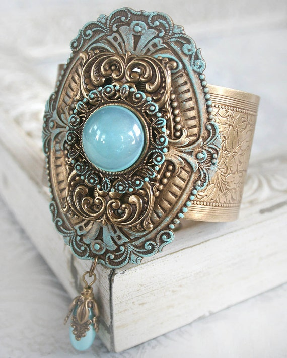 SEA GLASS Victorian fantasy cuff bracelet featuring sea glass inspired and aged gold details, free velvet pouch