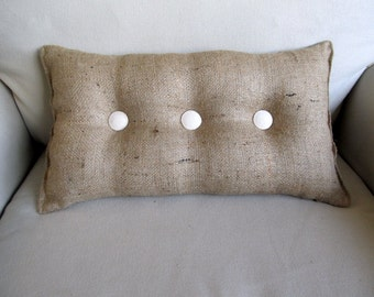 lumbar style 11x19 Burlap Pillow with ivory organic cotton duck buttons