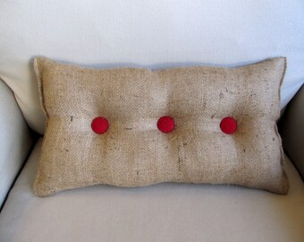 lumbar style 11x19 Burlap Pillow with red organic cotton duck buttons