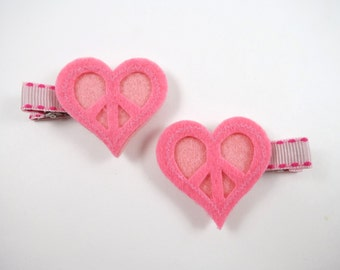 Pink Heart Hair Clips - Pink Hair Clips - Heart Hair Clip Set -  Small Hair Clips - Hair Clip Set