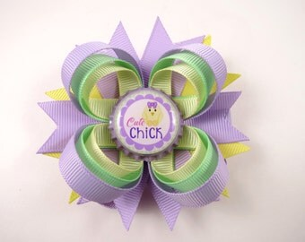 Easter Hair Bow - Easter Chick Hair Bow - Purple Green Yellow - Easter Hair Clip - Easter - Lavender Hair Bow