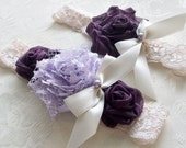 Shabby Chic Wedding Garter/  Vintage Inspired Bridal Wedding Garter/ Lilac and Purple Garter with Pearls and Rhinestones/ Toss Included