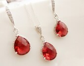 Ruby Teardrop Necklace Earrings Silver - Teardrop Czech Glass - Bridal Set Jewelry - Sterling Silver Pendant Necklace