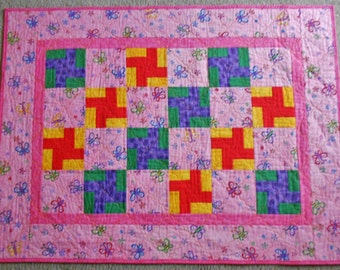 Butterfly Pinwheel Quilt Accented w Red, Yellow, Purple & Green