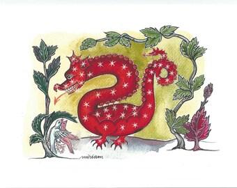 Dragon in medieval decor. Archival watercolor print.