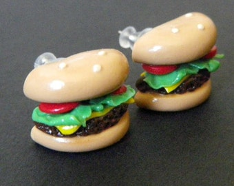 Phat Burger - Hamburger Stud Earrings