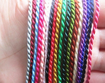 100pcs 19inch 2mm assorted Color (18 color)  twist silk  necklace cord