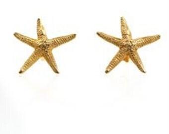 Gold Starfish  Earrings for women by Sierpe y Becerril artisan jewellers