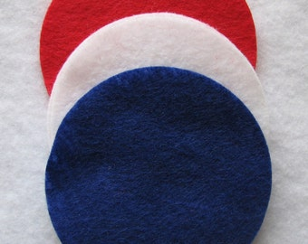 100 Pre Cut Felt Circles - 3 inches - red white and blue