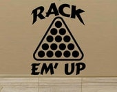 wall decal Rack em up pool billiards 8 ball 9 ball quote man cave decal men home decor family room pool table decal boy sport decal cue