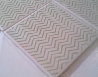Teal Green Chevron Coasters Four Piece Ceramic Tile Set