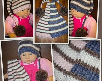 Twins,Alpaca,Hats,Boys,Girls,3-6 Months,Pink,Blue,Elf,Pom Pom,Photo Prop,Gift,Baby,Hand Knit