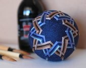 the journey - Japanese temari - zen home decor ornament - navy blue with blue & brown embroidery - crafting for a cause