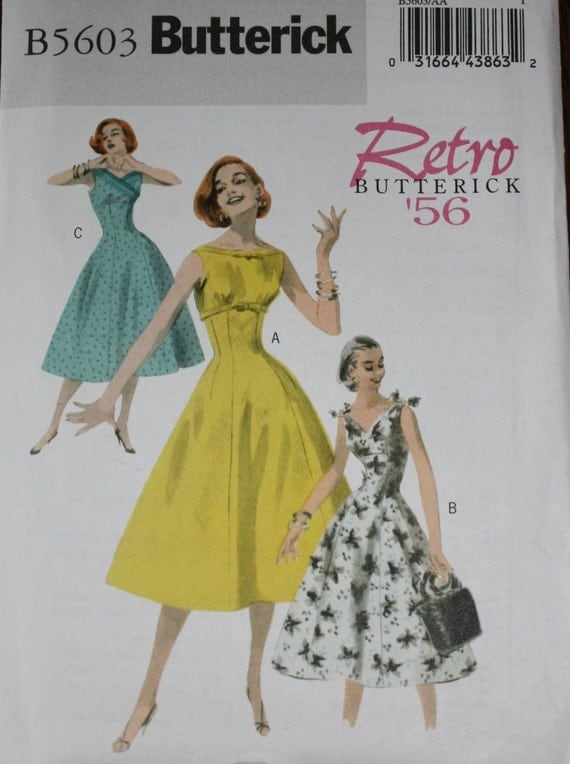 ann es 50 robe patron robe r tro de 1956 butterick 5603. Black Bedroom Furniture Sets. Home Design Ideas
