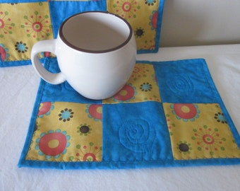 Mug Rug, Snack Mat, Coaster, Quilted, Coffee rug, retro flowers, yellow, teal, Set of 2, CLEARANCE, sale