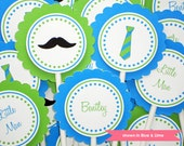 Mustache Cupcake Toppers - Personalized Mustache and Tie Party Decoration - Colors and Text Customizable