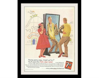 1960 7UP Kids Fun House Drink Ad, Vintage Advertising Wall Art Decor Print
